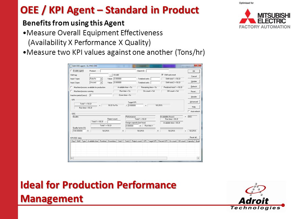 OEE / KPI Agent – Standard in Product Benefits from using this Agent Measure Overall Equipment Effectiveness (Availability X Performance X Quality) Measure two KPI values against one another (Tons/hr) Ideal for Production Performance Management