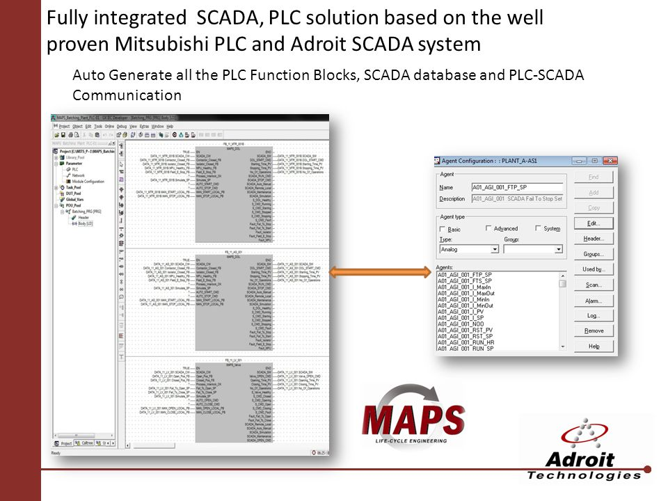 Fully integrated SCADA, PLC solution based on the well proven Mitsubishi PLC and Adroit SCADA system Auto Generate all the PLC Function Blocks, SCADA database and PLC-SCADA Communication