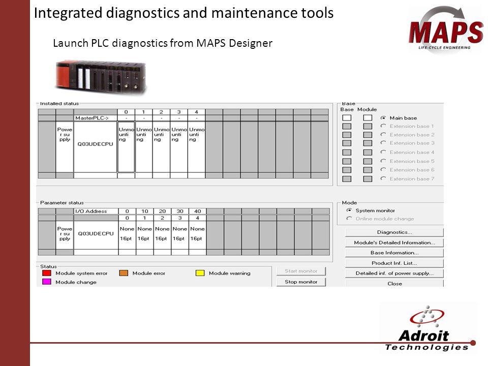 Integrated diagnostics and maintenance tools Launch PLC diagnostics from MAPS Designer