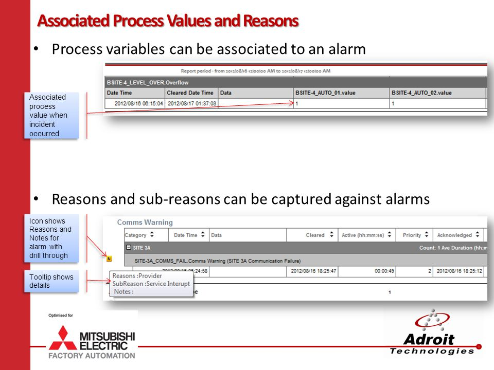 Process variables can be associated to an alarm Reasons and sub-reasons can be captured against alarms Associated Process Values and Reasons Associated process value when incident occurred Icon shows Reasons and Notes for alarm with drill through Tooltip shows details