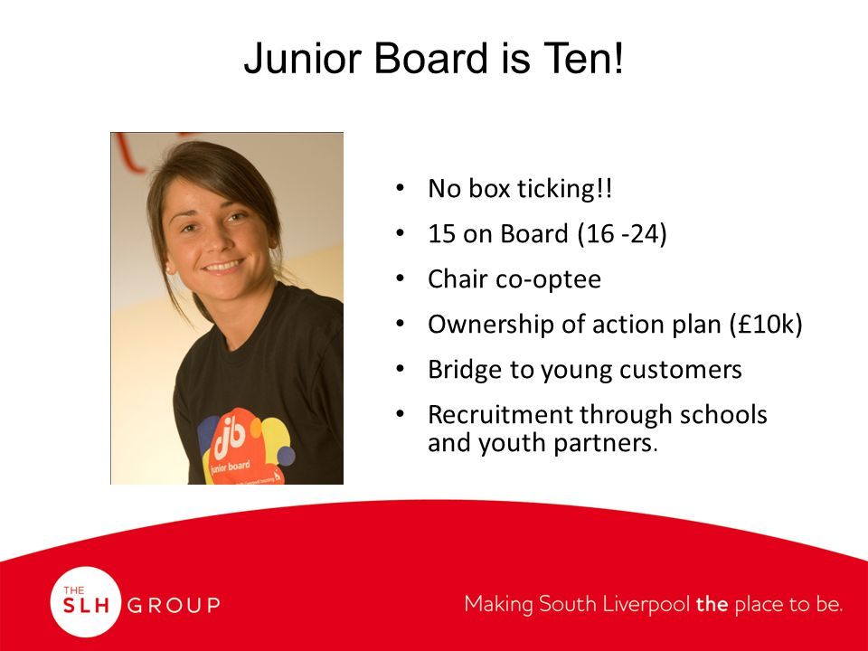 Junior Board is Ten. No box ticking!.