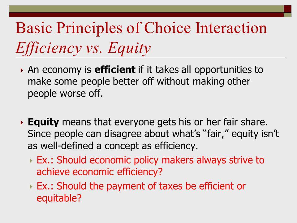 Basic Principles of Choice Interaction Efficiency vs.