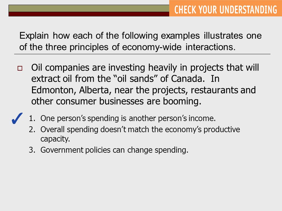 Explain how each of the following examples illustrates one of the three principles of economy-wide interactions.  Oil companies are investing heavily