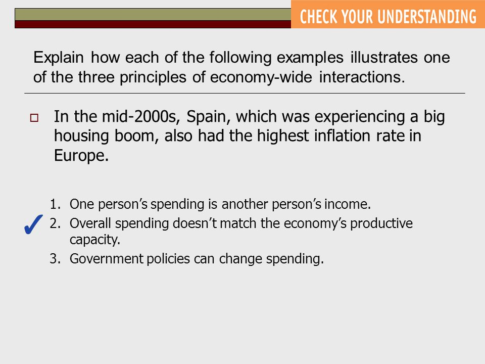 Explain how each of the following examples illustrates one of the three principles of economy-wide interactions.  In the mid-2000s, Spain, which was