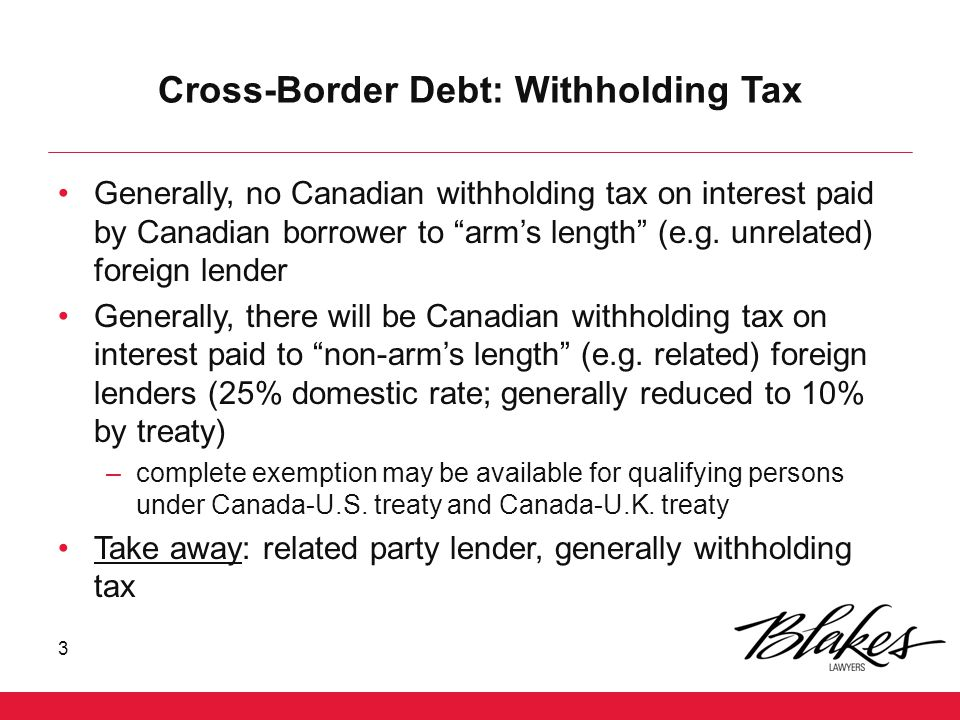 Cash Pooling – Upstream Loans 14 The upstream loan rules were intended to prevent foreign affiliates of Canadian taxpayers from making loans of taxable or hybrid surplus to a Canadian taxpayer The rules, however, have broader application Generally, the rules are potentially applicable where a specified debtor becomes indebted to a foreign affiliate of the taxpayer (a creditor affiliate ) A specified debtor is generally the Canadian taxpayer, a person that does not deal at arm's length with the taxpayer other than a controlled foreign affiliate for purposes of section 17 NR Co Canco FA1 Loan 1 NRSub Loan 4 Loan 2 Loan 3