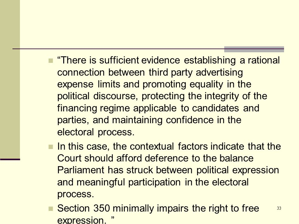 There is sufficient evidence establishing a rational connection between third party advertising expense limits and promoting equality in the political discourse, protecting the integrity of the financing regime applicable to candidates and parties, and maintaining confidence in the electoral process.