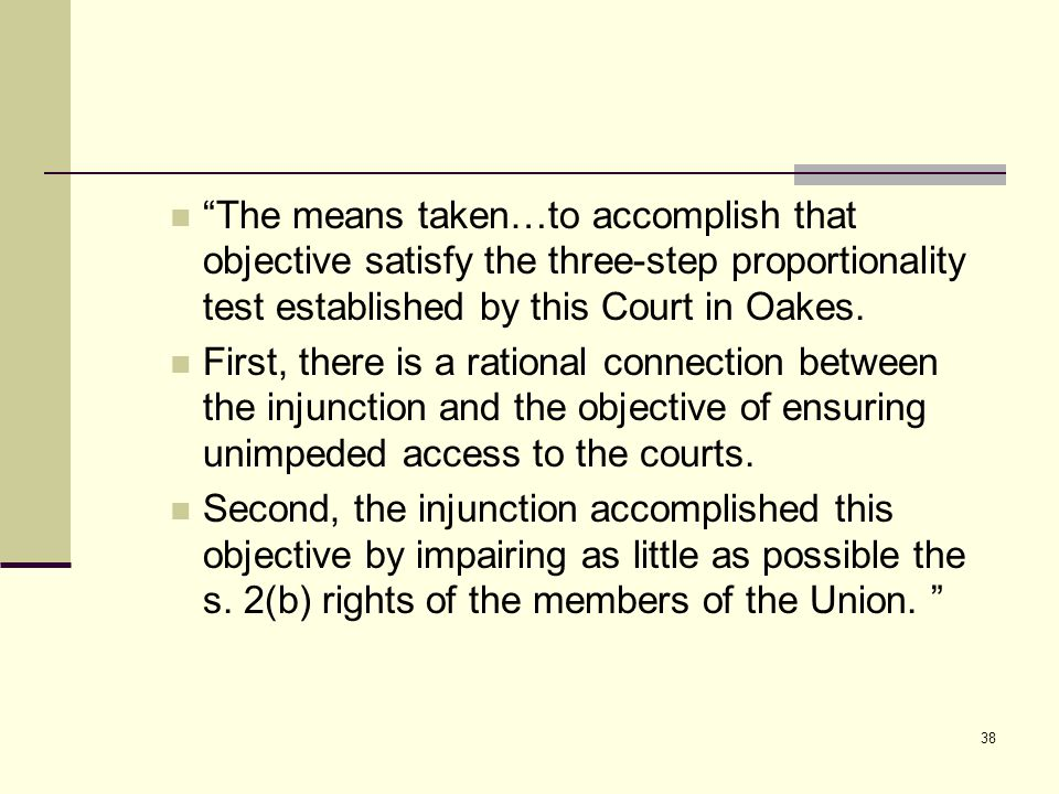 """The means taken…to accomplish that objective satisfy the three ‑ step proportionality test established by this Court in Oakes. First, there is a rati"