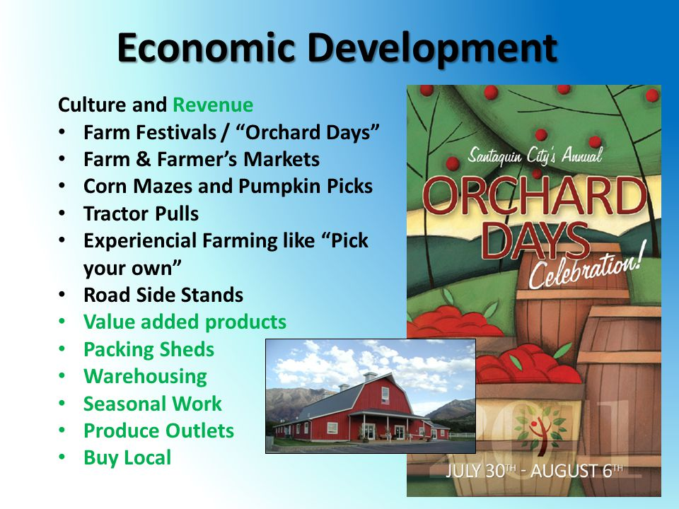 Economic Development Culture and Revenue Farm Festivals / Orchard Days Farm & Farmer's Markets Corn Mazes and Pumpkin Picks Tractor Pulls Experiencial Farming like Pick your own Road Side Stands Value added products Packing Sheds Warehousing Seasonal Work Produce Outlets Buy Local