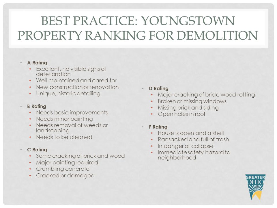 BEST PRACTICE: YOUNGSTOWN PROPERTY RANKING FOR DEMOLITION A Rating Excellent, no visible signs of deterioration Well maintained and cared for New construction or renovation Unique, historic detailing B Rating Needs basic improvements Needs minor painting Needs removal of weeds or landscaping Needs to be cleaned C Rating Some cracking of brick and wood Major painting required Crumbling concrete Cracked or damaged D Rating Major cracking of brick, wood rotting Broken or missing windows Missing brick and siding Open holes in roof F Rating House is open and a shell Ransacked and full of trash In danger of collapse Immediate safety hazard to neighborhood
