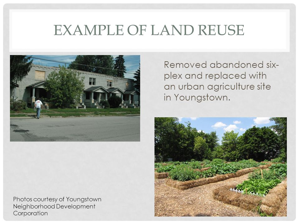 EXAMPLE OF LAND REUSE Removed abandoned six- plex and replaced with an urban agriculture site in Youngstown.
