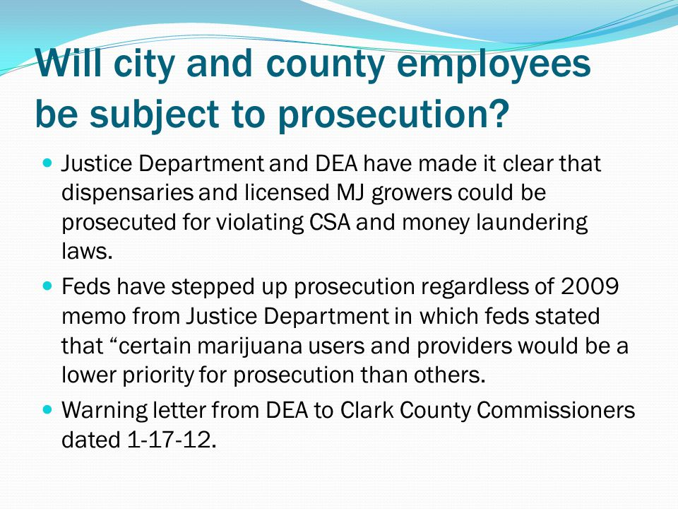 Will city and county employees be subject to prosecution.