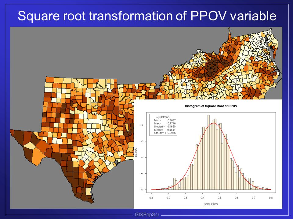 GISPopSci Square root transformation of PPOV variable