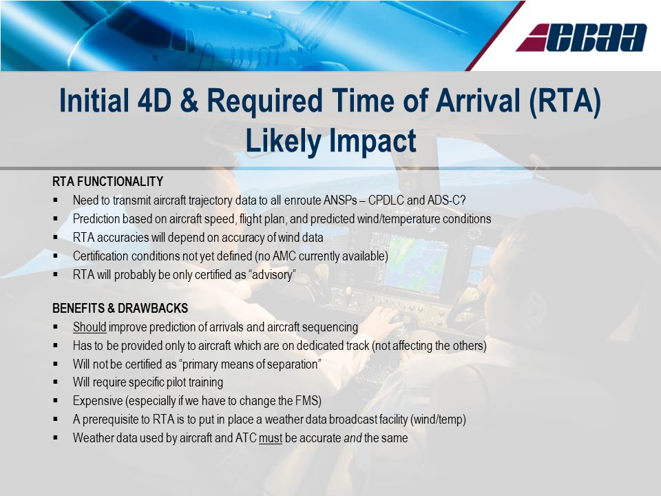 Initial 4D & Required Time of Arrival (RTA) Likely Impact RTA FUNCTIONALITY  Need to transmit aircraft trajectory data to all enroute ANSPs – CPDLC a
