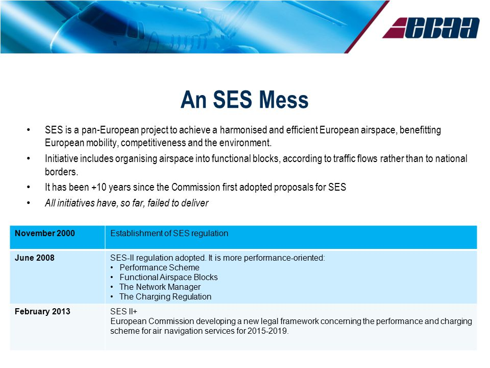 An SES Mess SES is a pan-European project to achieve a harmonised and efficient European airspace, benefitting European mobility, competitiveness and