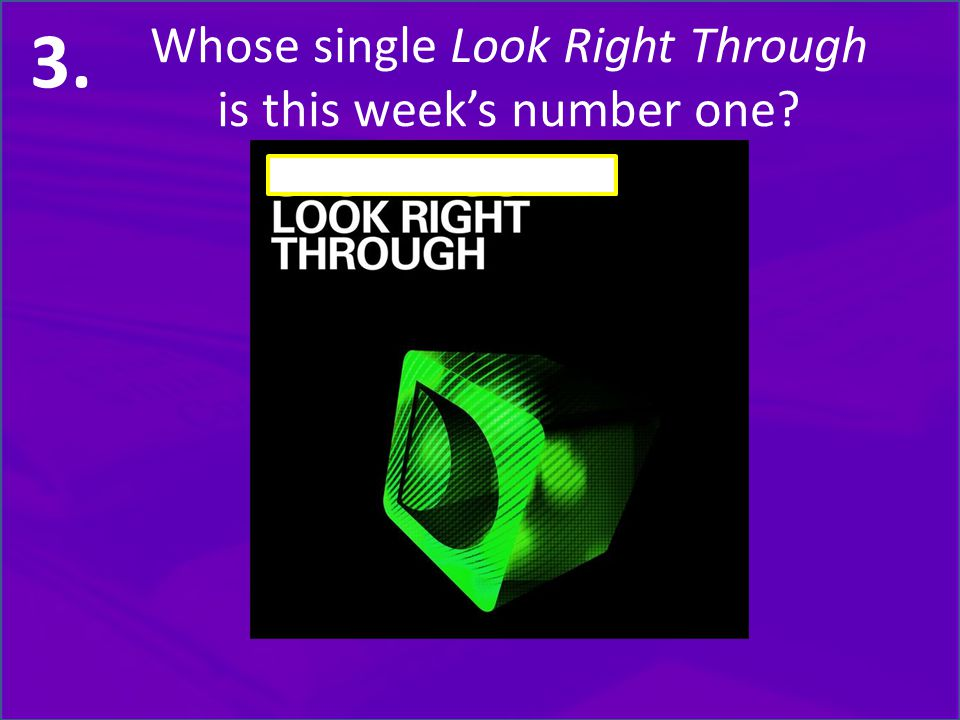 Whose single Look Right Through is this week's number one 3.