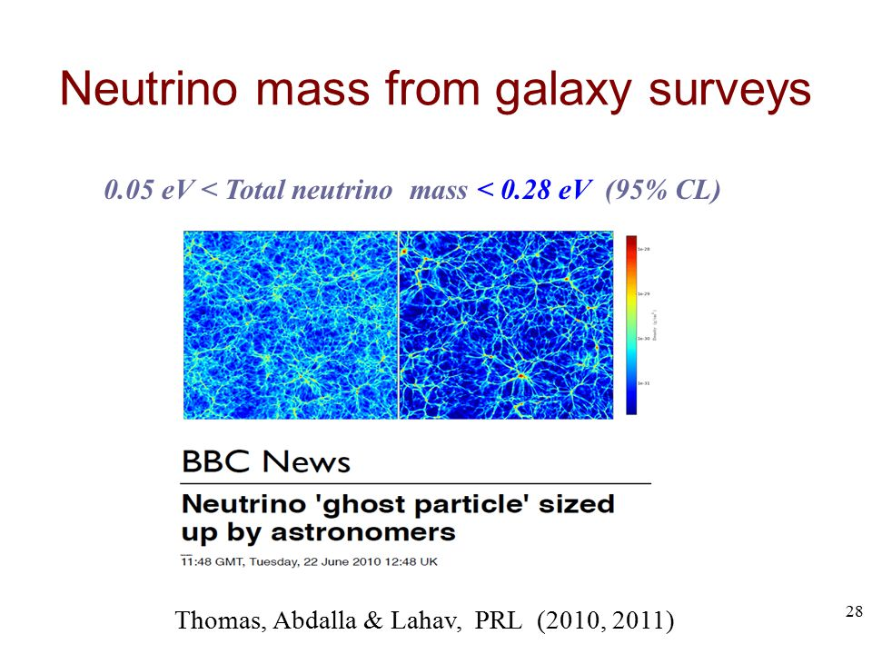 Neutrino mass from galaxy surveys Thomas, Abdalla & Lahav, PRL (2010, 2011) 0.05 eV < Total neutrino mass < 0.28 eV (95% CL) 28