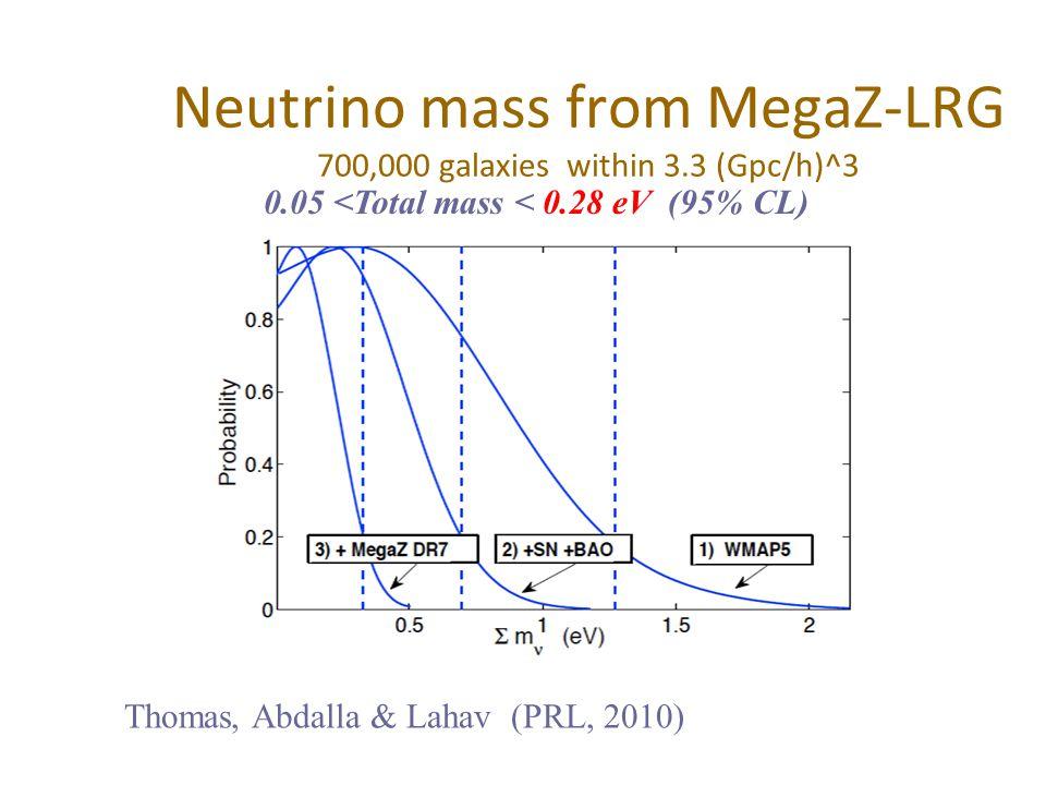 Neutrino mass from MegaZ-LRG 700,000 galaxies within 3.3 (Gpc/h)^3 Thomas, Abdalla & Lahav (PRL, 2010) 0.05 <Total mass < 0.28 eV (95% CL)