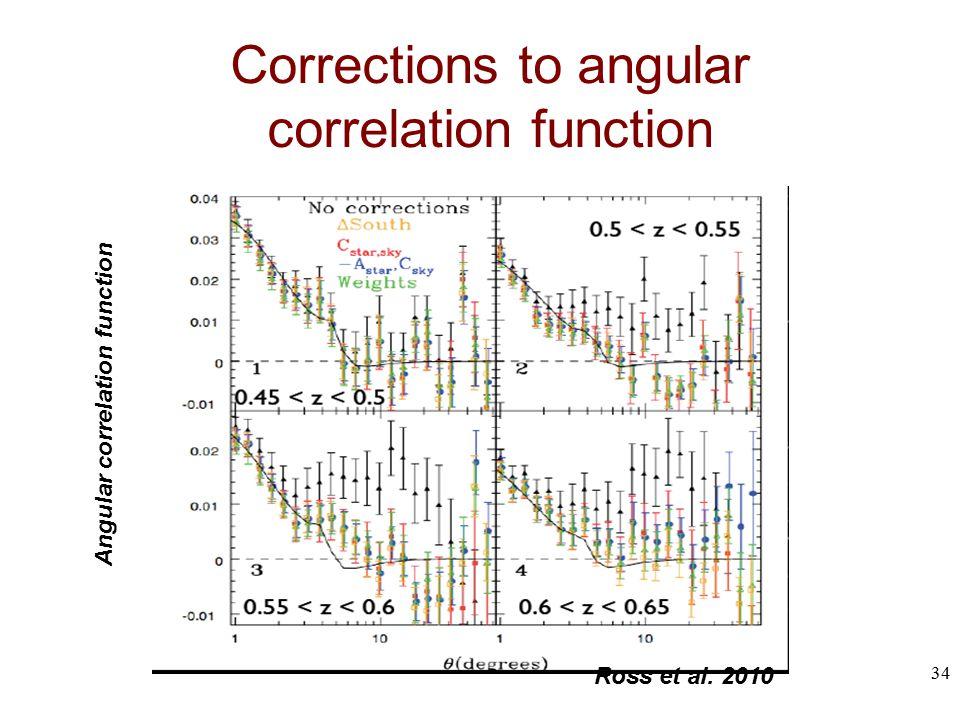 Corrections to angular correlation function Ross et al. 2010 Angular correlation function 34