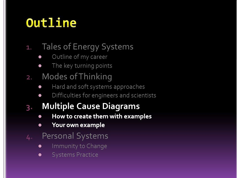 1. Tales of Energy Systems Outline of my career The key turning points 2. Modes of Thinking Hard and soft systems approaches Difficulties for engineer
