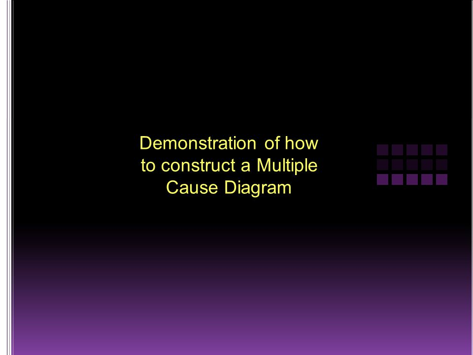 Demonstration of how to construct a Multiple Cause Diagram