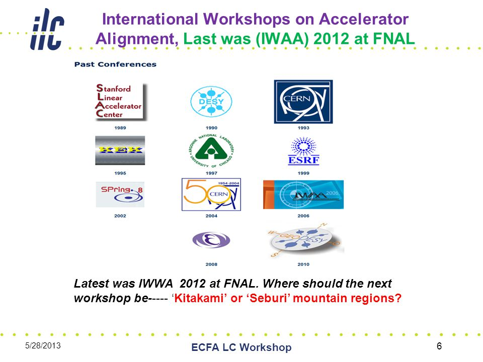 International Workshops on Accelerator Alignment, Last was (IWAA) 2012 at FNAL 5/28/2013 ECFA LC Workshop 6 Latest was IWWA 2012 at FNAL.