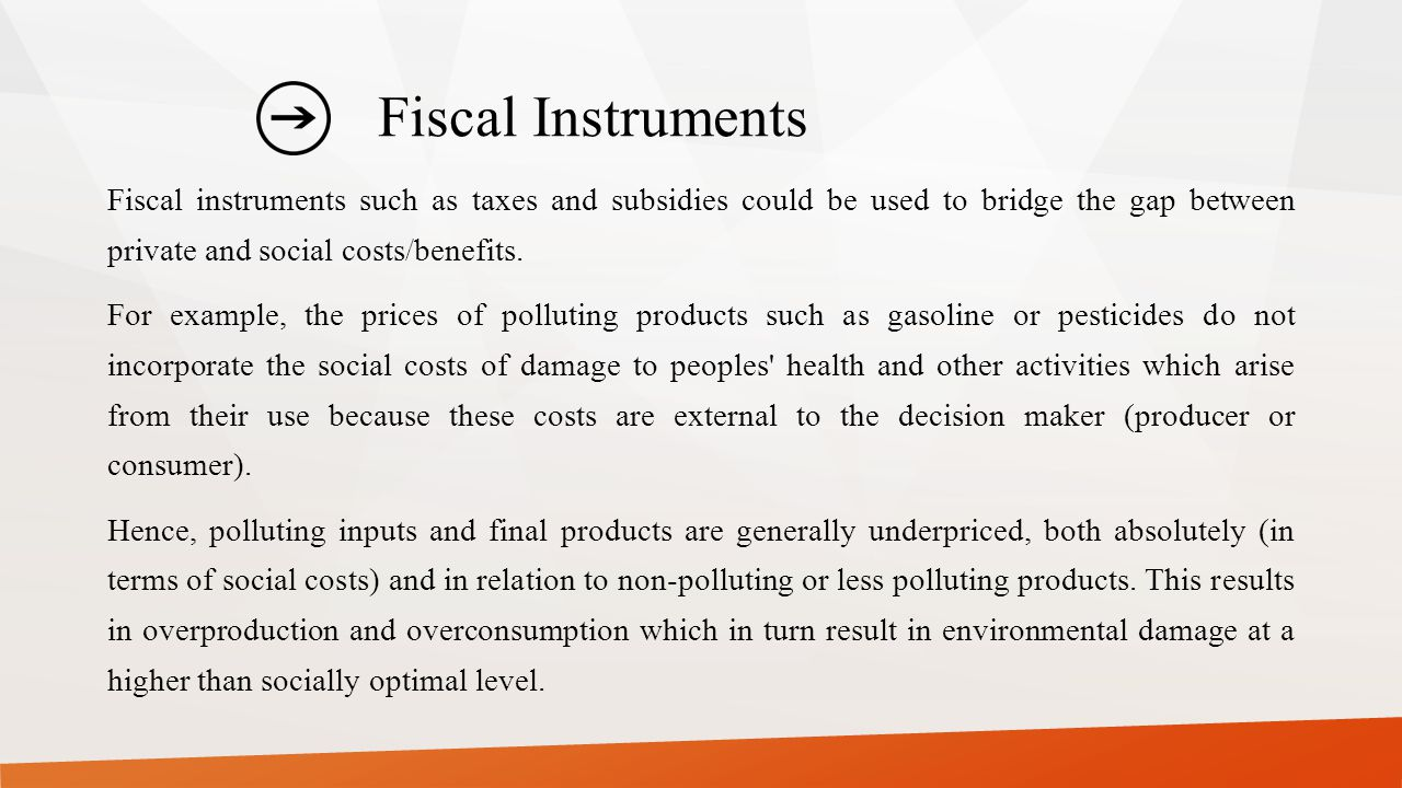 Fiscal Instruments Fiscal instruments such as taxes and subsidies could be used to bridge the gap between private and social costs/benefits.