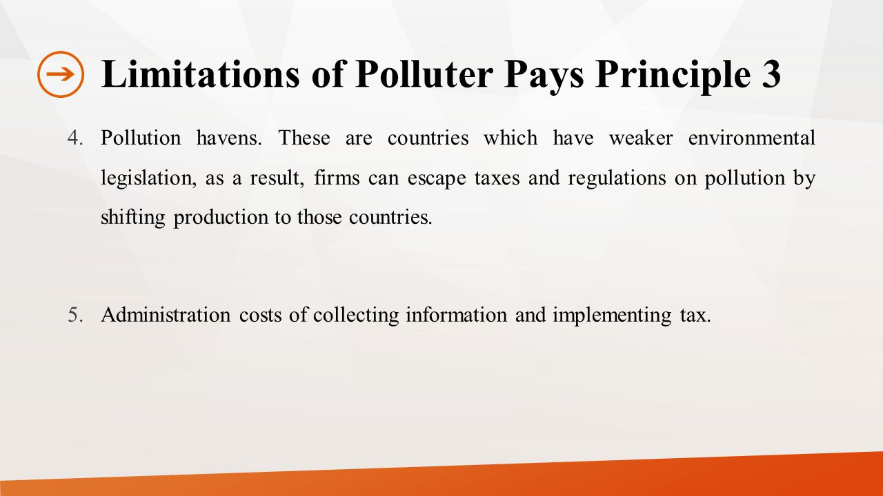 Limitations of Polluter Pays Principle 3 4.Pollution havens.