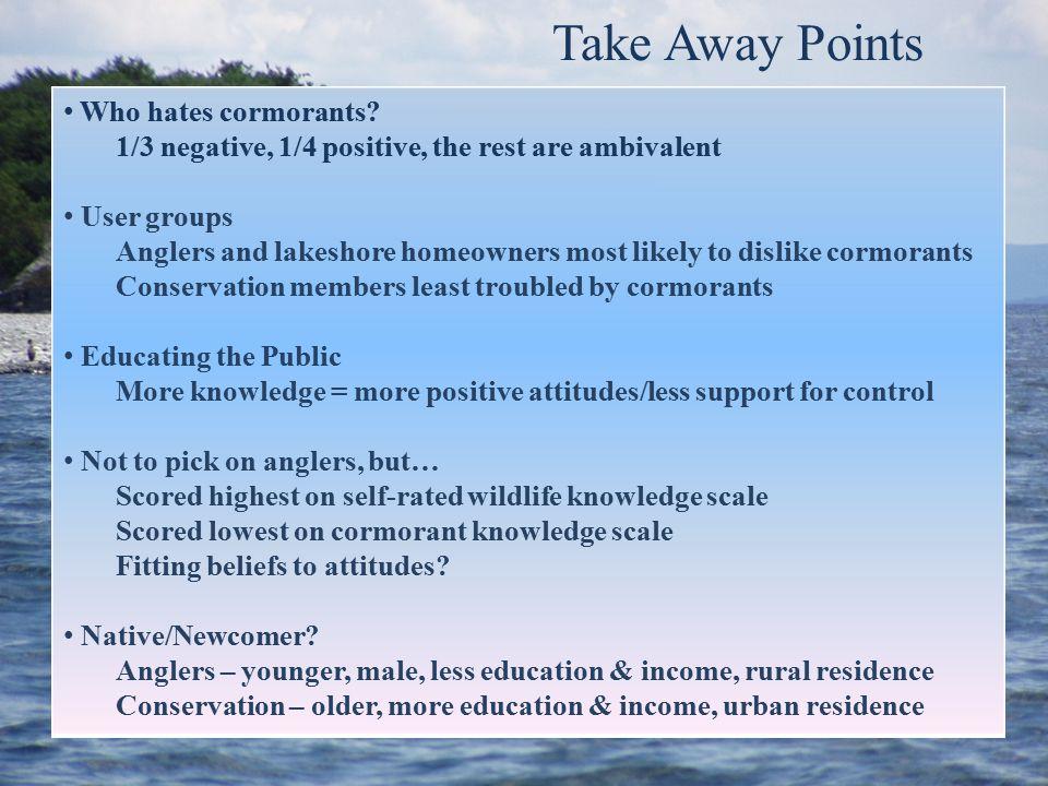 Take Away Points Who hates cormorants.