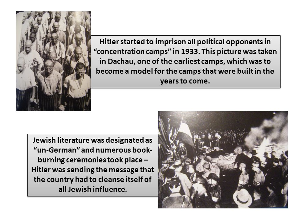 """Hitler started to imprison all political opponents in """"concentration camps"""" in 1933. This picture was taken in Dachau, one of the earliest camps, whic"""