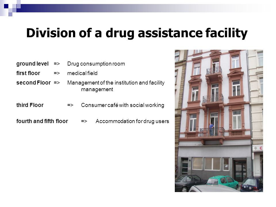 ground level=>Drug consumption room first floor=>medical field second Floor=>Management of the institution and facility management third Floor=>Consum