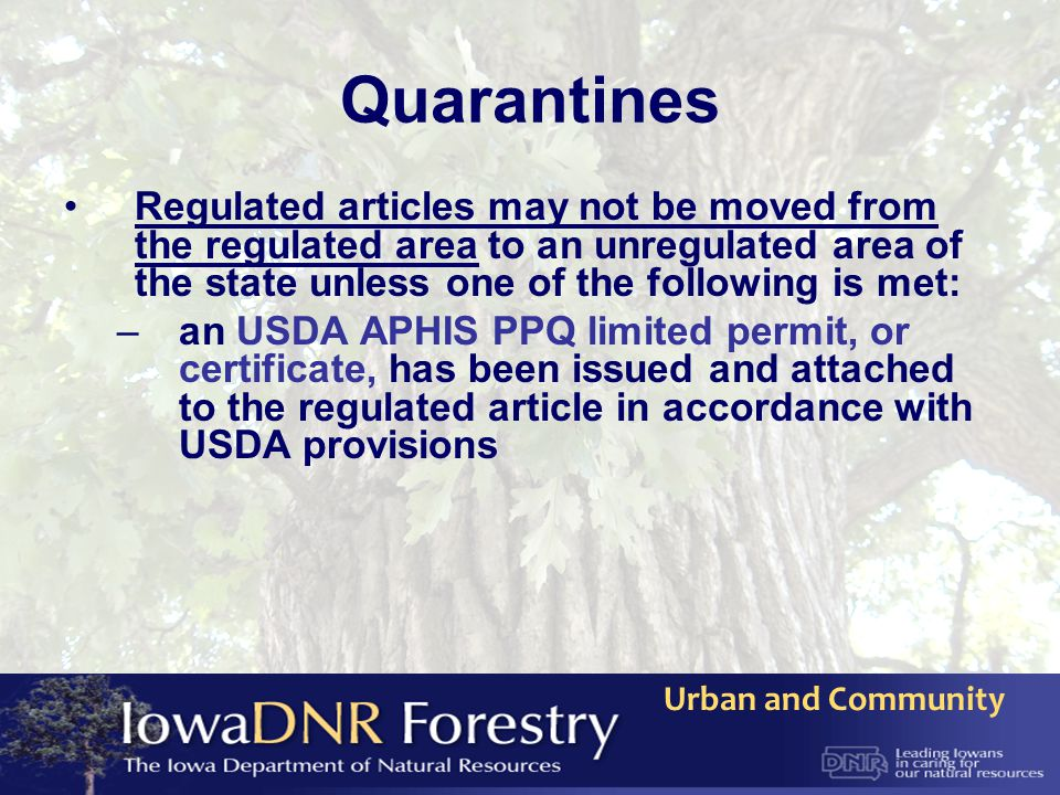 Urban and Community Quarantines Regulated articles may not be moved from the regulated area to an unregulated area of the state unless one of the foll