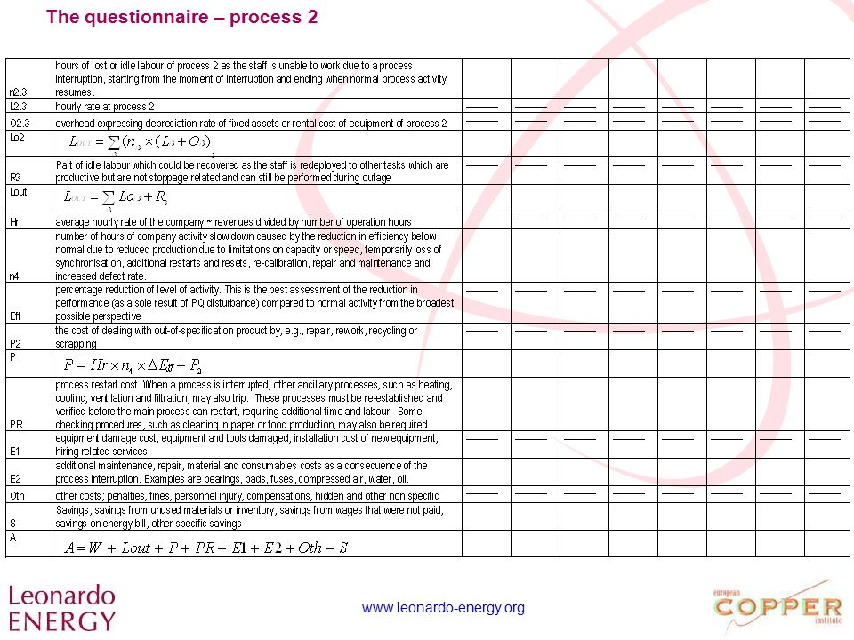 www.leonardo-energy.org The questionnaire – process 2