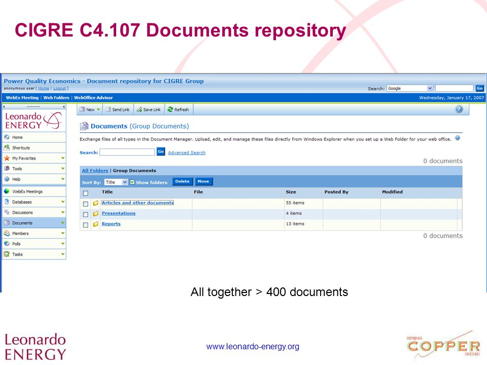 www.leonardo-energy.org CIGRE C4.107 Documents repository All together > 400 documents