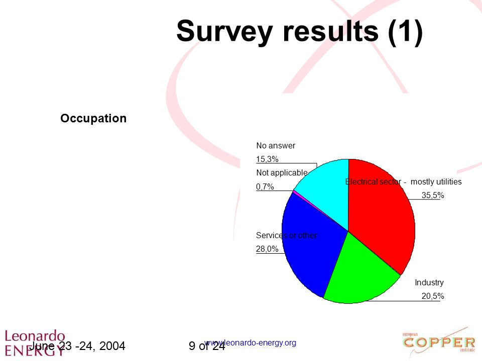 www.leonardo-energy.org June 23 -24, 20049 of 24 Survey results (1) 15,3% 0,7% 28,0% 20,5% 35,5% No answer Not applicable Services or other Industry E