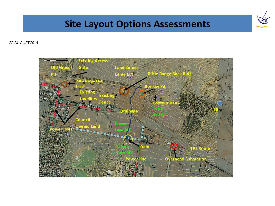 Sites Layout Options Assessments Project AspectRiskComments Batch settling ponds -Required to manage backwash process has less room Power Supply -The WTP will require 415/240 Volts, 3 ‐ phase, 50 Hz power supply.