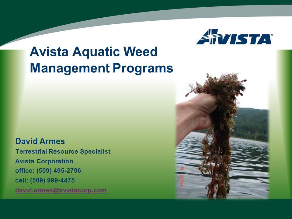 Avista Aquatic Weed Management Programs David Armes Terrestrial Resource Specialist Avista Corporation office: (509) 495-2796 cell: (509) 999-4475 david.armes@avistacorp.com
