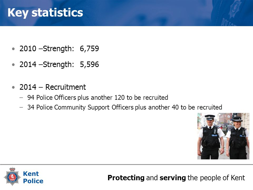 Protecting and serving the people of Kent Key statistics 2010 –Strength: 6,759 2014 –Strength: 5,596 2014 – Recruitment –94 Police Officers plus another 120 to be recruited –34 Police Community Support Officers plus another 40 to be recruited