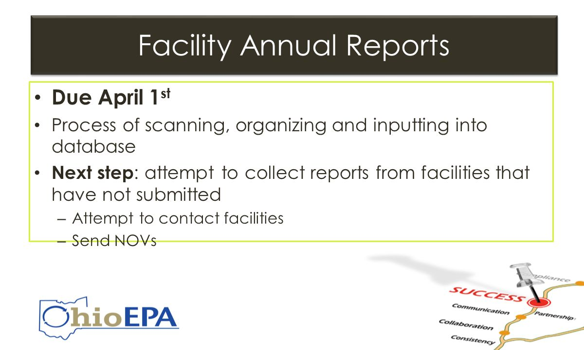 Facility Annual Reports Due April 1 st Process of scanning, organizing and inputting into database Next step : attempt to collect reports from facilities that have not submitted – Attempt to contact facilities – Send NOVs Due April 1 st Process of scanning, organizing and inputting into database Next step : attempt to collect reports from facilities that have not submitted – Attempt to contact facilities – Send NOVs