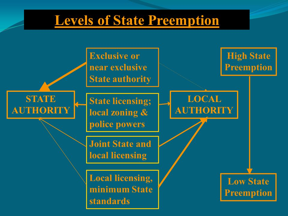 STATE AUTHORITY Exclusive or near exclusive State authority State licensing; local zoning & police powers Joint State and local licensing Local licensing, minimum State standards LOCAL AUTHORITY High State Preemption Low State Preemption Levels of State Preemption