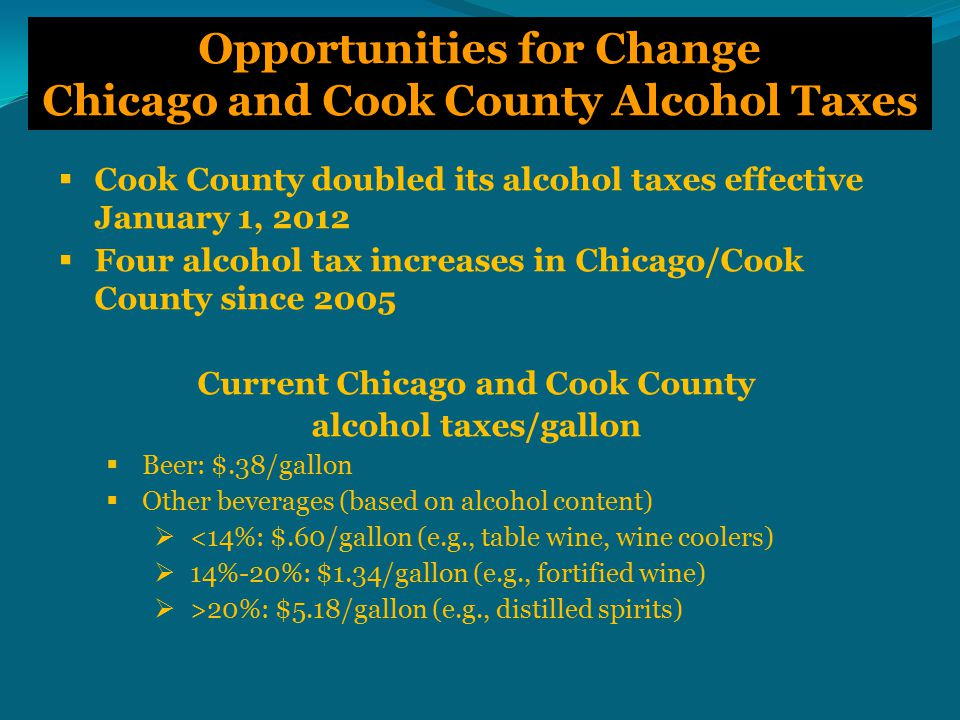 Opportunities for Change Chicago and Cook County Alcohol Taxes  Cook County doubled its alcohol taxes effective January 1, 2012  Four alcohol tax increases in Chicago/Cook County since 2005 Current Chicago and Cook County alcohol taxes/gallon  Beer: $.38/gallon  Other beverages (based on alcohol content)  <14%: $.60/gallon (e.g., table wine, wine coolers)  14%-20%: $1.34/gallon (e.g., fortified wine)  >20%: $5.18/gallon (e.g., distilled spirits)