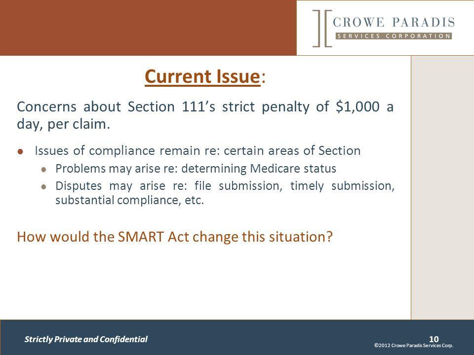 Strictly Private and Confidential Current Issue: Concerns about Section 111's strict penalty of $1,000 a day, per claim.