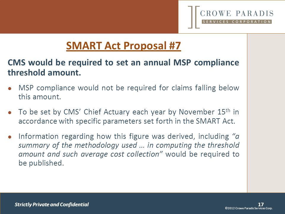 Strictly Private and Confidential SMART Act Proposal #7 CMS would be required to set an annual MSP compliance threshold amount.