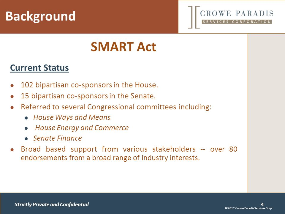 Strictly Private and Confidential Background SMART Act Current Status 102 bipartisan co-sponsors in the House.