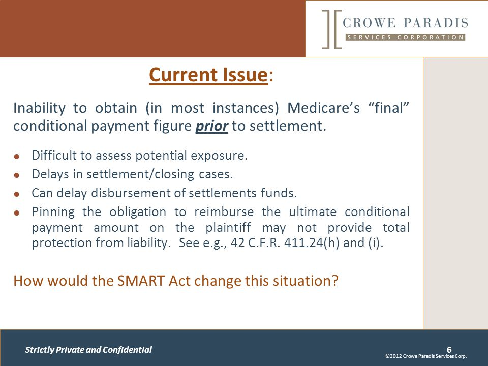 Strictly Private and Confidential Current Issue: Inability to obtain (in most instances) Medicare's final conditional payment figure prior to settlement.