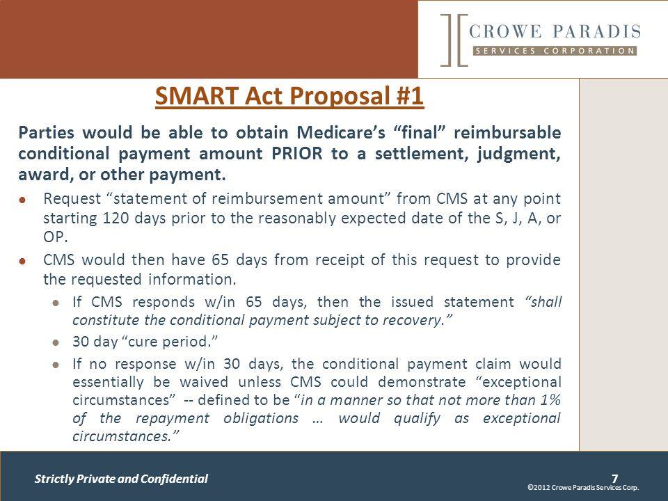 Strictly Private and Confidential SMART Act Proposal #1 Parties would be able to obtain Medicare's final reimbursable conditional payment amount PRIOR to a settlement, judgment, award, or other payment.