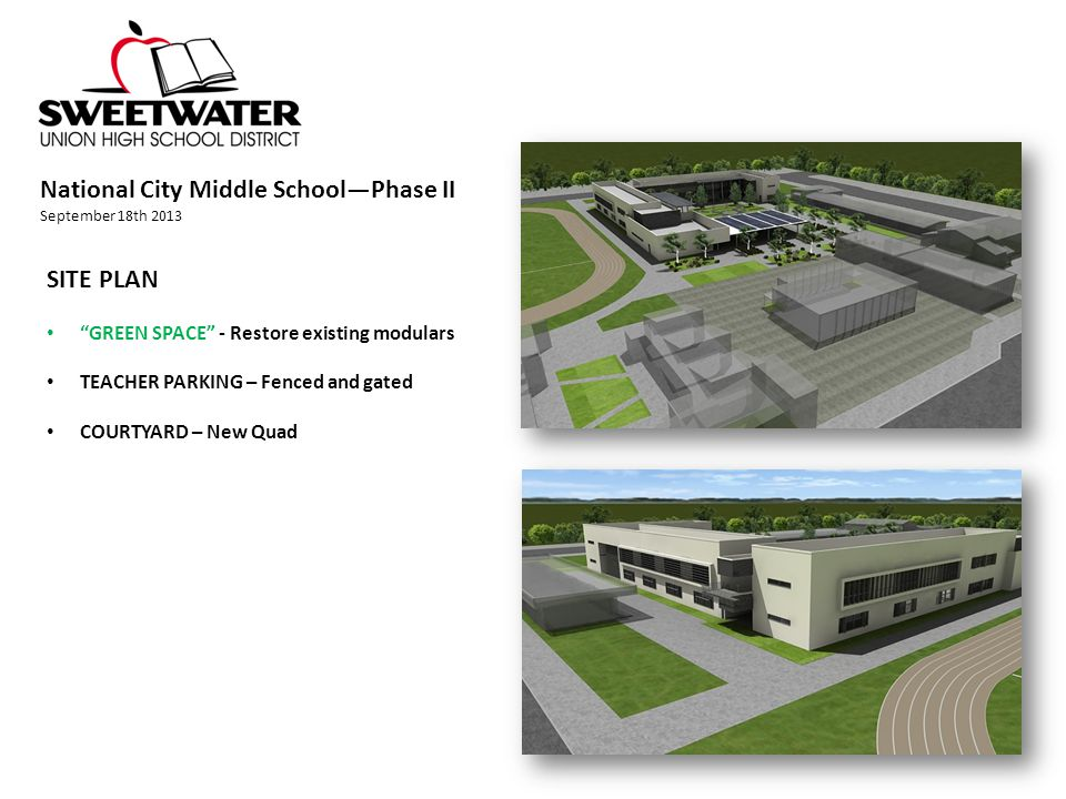National City Middle School—Phase II September 18th 2013 SITE PLAN GREEN SPACE - Restore existing modulars TEACHER PARKING – Fenced and gated COURTYARD – New Quad