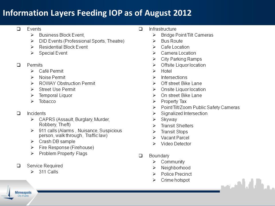 6 Information Layers Feeding IOP as of August 2012  Events  Business Block Event,  DID Events (Professional Sports, Theatre)  Residential Block Event  Special Event  Permits  Café Permit  Noise Permit  ROWAY Obstruction Permit  Street Use Permit  Temporal Liquor  Tobacco  Incidents  CAPRS (Assault, Burglary, Murder, Robbery, Theft)  911 calls (Alarms, Nuisance, Suspicious person, walk through, Traffic law)  Crash DB sample  Fire Response (Firehouse)  Problem Property Flags  Service Required  311 Calls  Infrastructure  Bridge Point/Tilt Cameras  Bus Route  Cafe Location  Camera Location  City Parking Ramps  Offsite Liquor location  Hotel  Intersections  Off street Bike Lane  Onsite Liquor location  On street Bike Lane  Property Tax  Point/Tilt/Zoom Public Safety Cameras  Signalized Intersection  Skyway  Transit Shelters  Transit Stops  Vacant Parcel  Video Detector  Boundary  Community  Neighborhood  Police Precinct  Crime hotspot