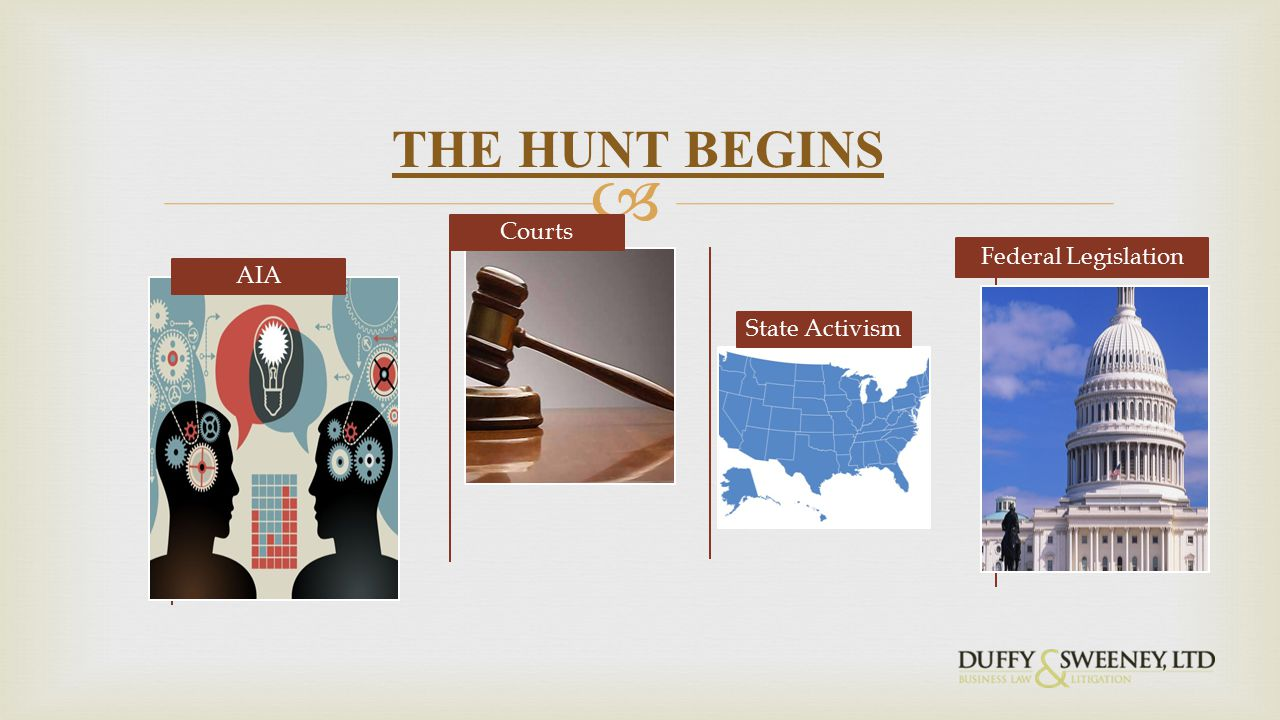  AIA Courts State Activism Federal Legislation THE HUNT BEGINS