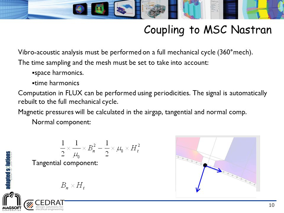 10 Coupling to MSC Nastran Vibro-acoustic analysis must be performed on a full mechanical cycle (360°mech). The time sampling and the mesh must be set