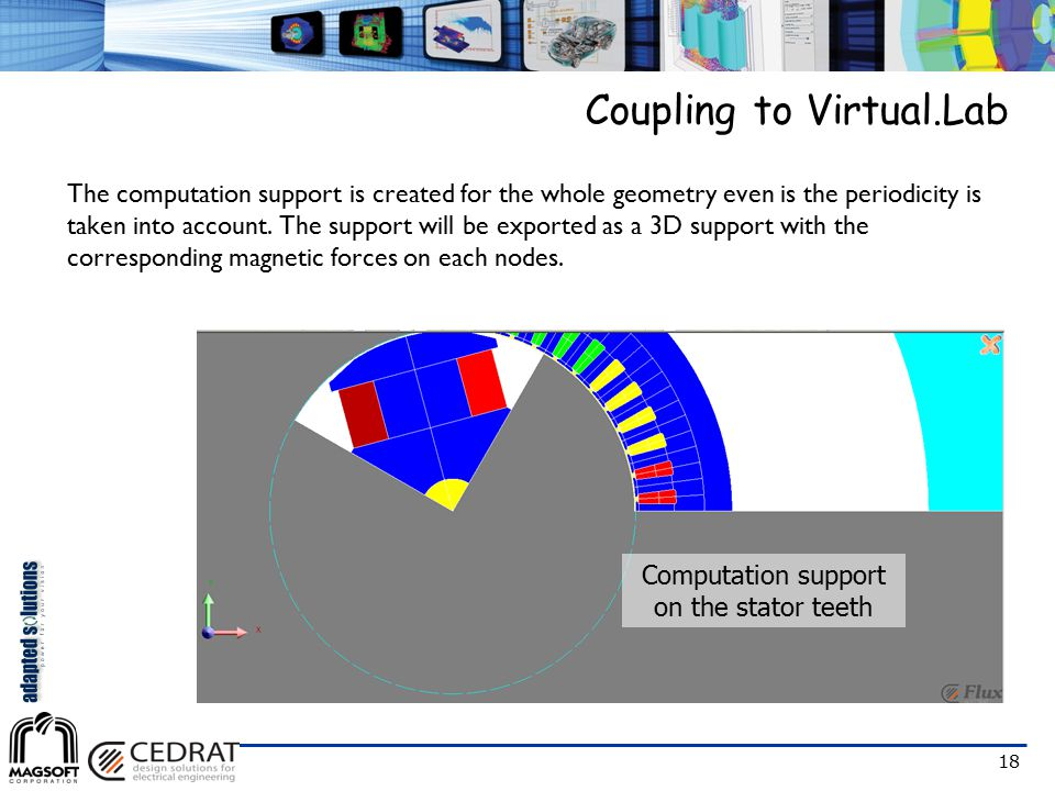 18 The computation support is created for the whole geometry even is the periodicity is taken into account. The support will be exported as a 3D suppo